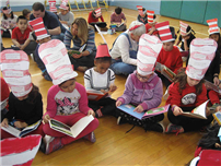Cherry Students with Dr. Seuss Hats on